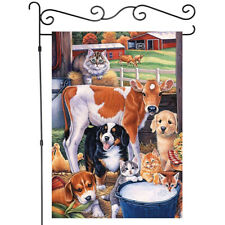 Animal Decor Garden Flags Dogs Cat and Cow Yard Flag Outdoor House Banner