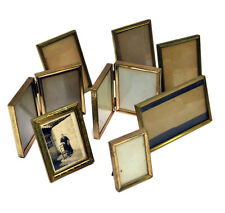 Vintage Brass Metal Picture Frames Hinged Glass & Stands Lot of 8 Photo Frames
