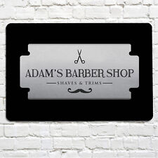Personalised Barber Shop hair dresser silver razor salon A4 metal sign