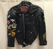 Vintage Motorcycle Leather Jacket Embroidered Patches Reverse D-Pocket