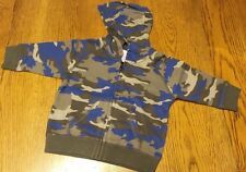 Size 12-24 Months NWT Gymboree King of Cool Baby Boys Blue Camo Zip Front Hoodie