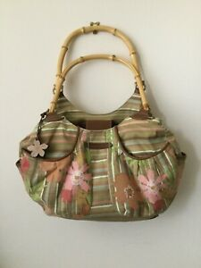 Caribbean Joe Handbag, Bamboo Handles, Pink, Green, Brown. Stripes and Flowers.