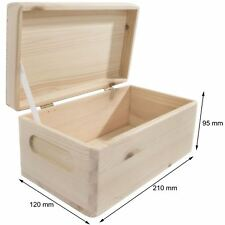 Wooden Storage Box 21x12x9cm with Lid /Etched Handles /Unpainted Pine Decoupage