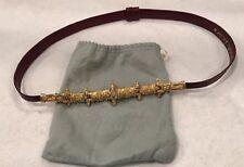 Judith Leiber Belt Vintage Burgundy Snakeskin, Gold Detailed Buckle, Adjustable
