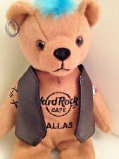 Hard Rock Cafe Dallas TX 8 inch Plush Rock Bear Toy Punk Vest Mohawk