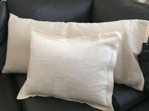 TWO Ralph Lauren MODERN NATURALS PILLOWS Made in Italy Linen & Cotton RARE