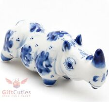 Rhinoceros Gzhel porcelain figurine rhino handmade