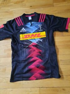 Harlequins Adidas Rugby Shirt Jersey Black Multi DHL Sponsor Logo Size L New