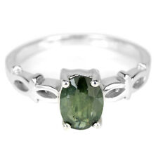GENUINE GREEN SAPPHIRE OVAL STERLING 925 SILVER SOLITAIRE RING SIZE 6.75