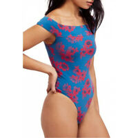 Free People Womens So Much OB799514 Bodysuit Floral Teal Combo Blue Size XS