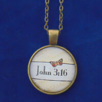 JOHN 3:16 Christian Necklace, Glass Dome, Bible Scripture Verse Reference