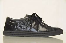 NEW CHANEL Black Leather Suede SNEAKERS with PEARLS CC LOGO TENNIS SHOES 39.5