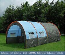 Large Camping tent Waterproof Canvas Fiberglass 5-8 People Family Tunnel