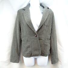 Women's Blazer Jacket Med. Bitten SJP NWT Woll Blend Gray Herringbone