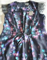 PHASE EIGHT PRETTY BLACK AND FLORAL DRESS WITH PULL IN WAIST SIZE 14. BNWT