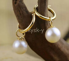AAAA+9.5-10mm perfect round white Australia south sea pearl dangle earring 14K
