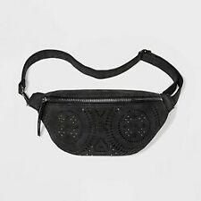 VR NYC Women's Black Laser Cut Fanny Pack Purse Belt Bag