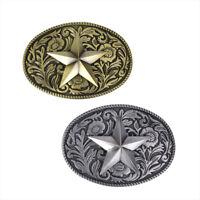 Retro Bronze Star MensBelt Buckle Cowboy Western Large Metal Alloy Buckles  JCAU