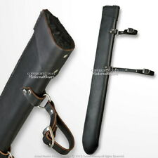 """34"""" Black Faux Fur Lined Medieval Sword Scabbard LARP Cosplay Carrying Sheath"""