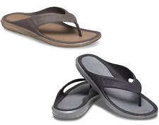 Mens CROCS Swiftwater Wave Flip Black /Grey & Espresso Brown Sandals vegan