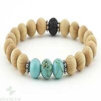 8mm Sandalwood Turquoise Lava Gemstone Mala Bracelet Unisex Tibet silver