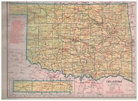 1942 Railroad Map of Oklahoma With A Railroad Map of Oregon On The Reverse