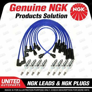 8 x NGK Spark Plugs Ignition Leads Set for Land Rover Discovery Series 1 3.9L V8