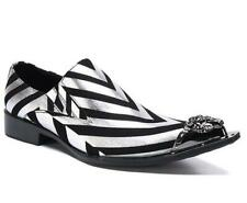 Mens Pumps Metal Pointed Toe Party Leather Striped Slip On Dress Business Shoes
