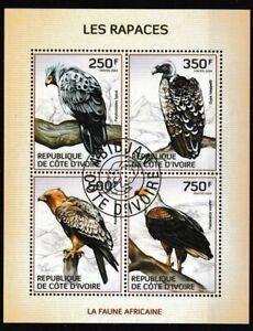 Raptors Birds CTO Souvenir Sheet of 4 Stamps 2014 Ivory Coast