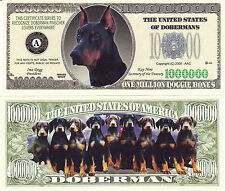 Two Doberman Pinscher Dog K-9 Novelty Money Bills #274