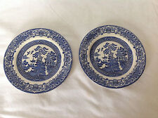 2 EIT England Blue Willow Bread Plates