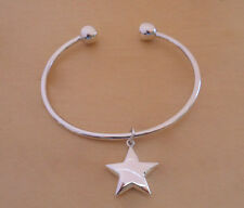 925 Sterling Silver Screw End Torque Bangle 63 mm & 2.5 mm Thick & Star Charm