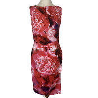 Jayson Brunsdon Womens Red Floral Sleeveless Lined Bodycon Dress Size 8