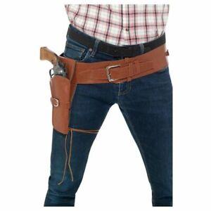 Pistolenholster mit Gürtel aus Kunstleder | braun | Cowboykostüm Zubehör