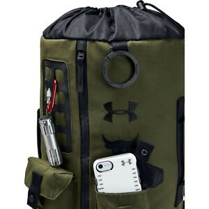 UA X Under Armour Project The Rock DJ 60 Green Military Duffel Bag Backpack