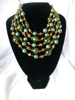 Amazing Vintage VENDOME Bronze Crystal and Glass Bead 5-Strand Necklace
