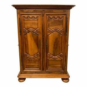 18th Century French Louis XIV Solid Walnut Period Chateau Armoire .