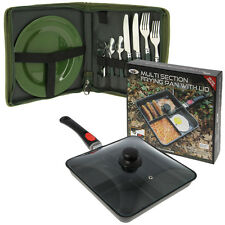NGT DAY CUTLERY CARP FISHING SET & MULTI SECTION COOKING CAMPING FRYING PAN LID