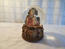 Holy mother & child resin musical snow globe silent night