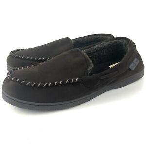 Dearfoams Slippers Men's Size 11-12 W Large Wide Brown Memory Foam Moccasins EUC