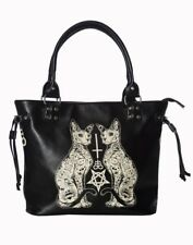 Banned Apparel Esoteric Cat Gothic Pentagram Punk Kitty Purse Tote Bag BG7246BLK