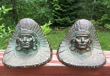 Pair Of Antique Full Headdress Brass Bronze Indian Chief Bookends Signed Named