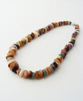 Vintage Semi-Precious Multi-Gemstone Nugget Necklace… Agates, Amethyst… Polished