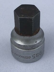 """Hazet 985-10 10 MM Stubby Hex Key Socket 1/2"""" Drive Made In Germany"""