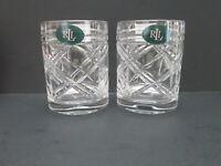 Ralph Lauren Crystal Old Fashioned, Lowball Rocks Whiskey Glass, Brogan, Pair