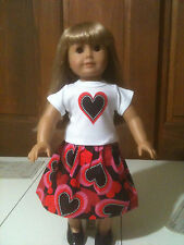 "Doll Clothes- Shirt and Skirt For 18"" & AG Dolls Featuring Hearts"