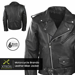 Mens Black Classic Motorcycle Perfecto Brando Marlon Leather Jacket Biker UK