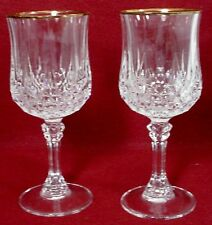 "CRISTAL d'ARQUES crystal LONGCHAMP GOLD pattern WATER GOBLET 7-1/4"" set of TWO"