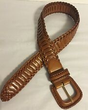 """Hippy Boho Festival Brown 1 3/4"""" Wide Leather Braided Belt Small 26-28"""""""