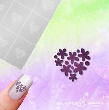 Airbrush + Nagellack klebe Schablonen M611 NAILART Herz Heart Blumen Floral 20x